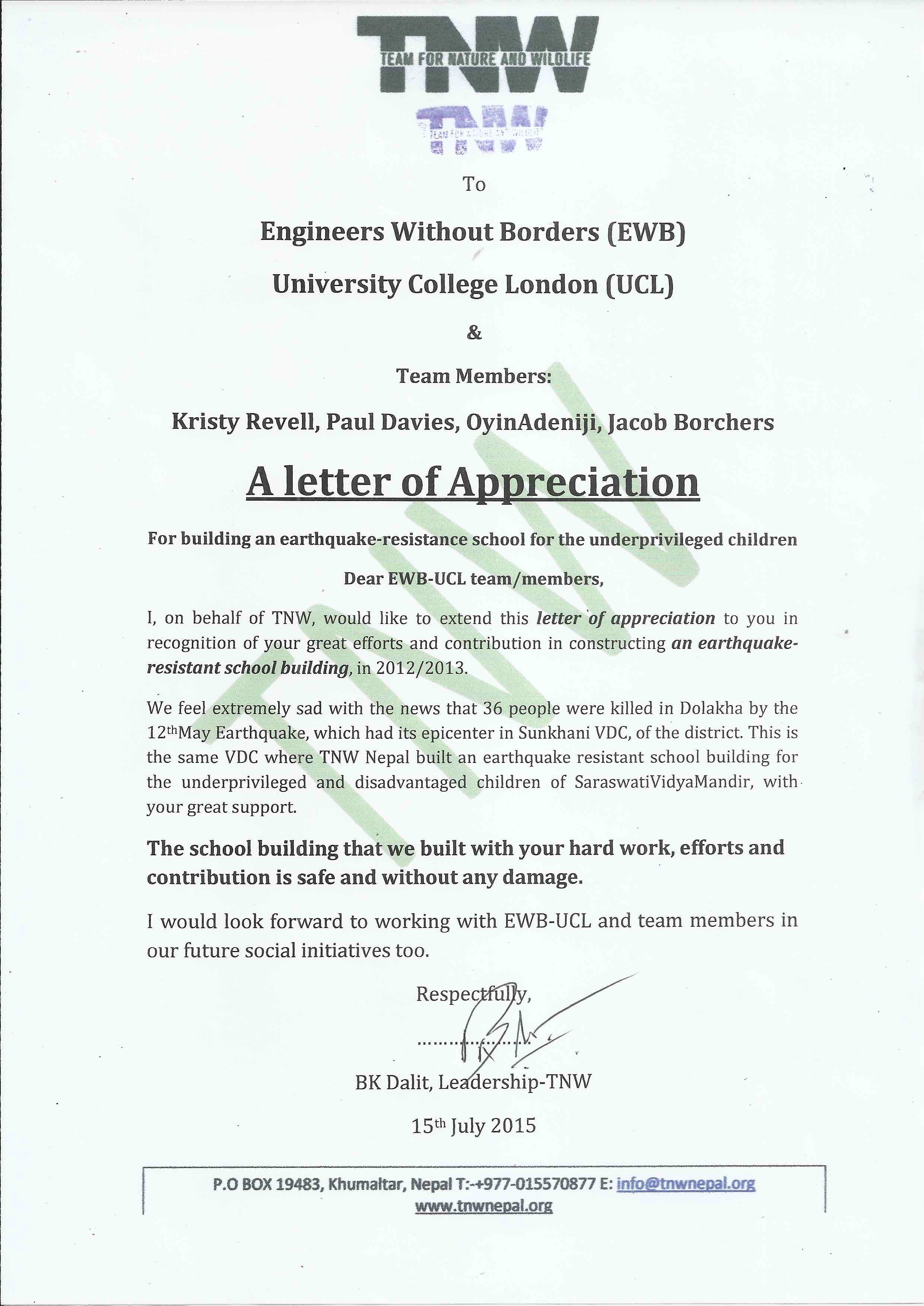 Letter of Appreciation sent to Engineers Without Borders ...
