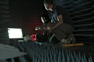 Testing wireless coverage inside an anechoic chamber, designed to cut out interference from the outside world