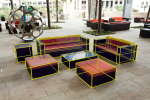 A 2D scene with 3D information extraction using cuboid proxies (yellow lines)