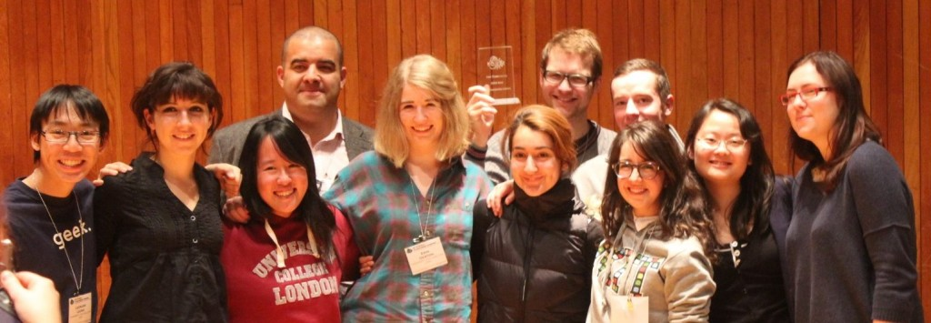 UCL iGEM student synthetic biology team at MIT, with their 'best presentation' trophy