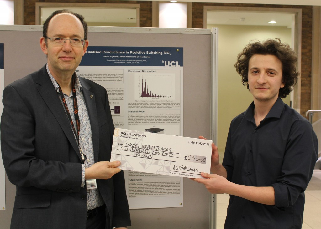 Andrei Vrajitoarea, 2nd year UCL Electronic and Electrical Engineering student, receives the prize for best project on the UCL Engineering-funded research opportunities scheme