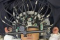 A baby ina specially-desinged brain scanner developed by UCL Medical Physics and Bioengineering - suitable for use even with very young children