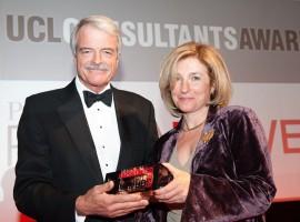 Professor Polina Bayvel receives her award from UCL's President & Provost, Malcolm Grant