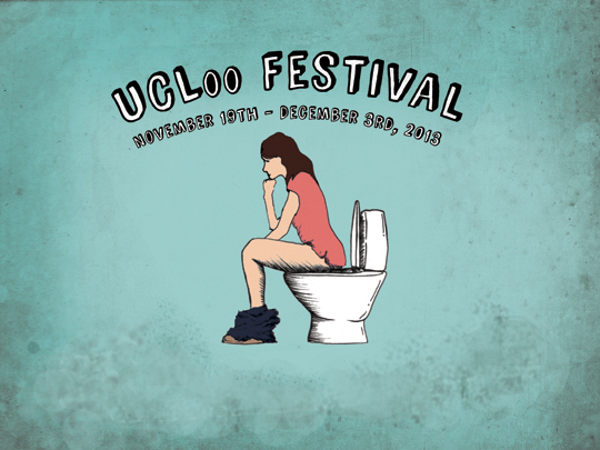 UCLoo Festival logo, showing a woman on the toilet