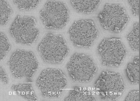 A SEM of biomaterial patterning developed by Prof Mohan Edirisinghe (UCL Mechanical Engineering), which could be added to medical implants to improve healing