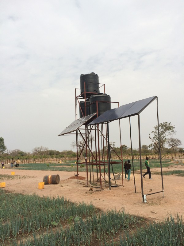 The new solar powered pump supplying water from a borehole