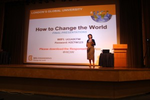 Dame Nicola Brewer, Vice-Provost (International of UCL, introduces students to the 'How to Change the World' programme.