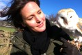 Helen Czerski from UCL Mechanical Engineering with a barn owl
