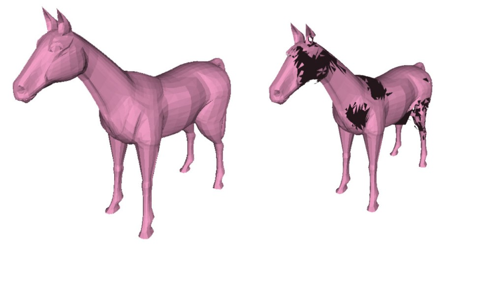 Two ponies. The pony on the left is computed with an Intel CPU and doesn't look buggy, the one on the right is computed with an Nvidia GPU and looks buggy. This is because the one on the right is computed using an Octree that uses a message passing idiom.