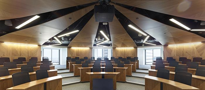 One of the new lecture theatres at Canary Wharf