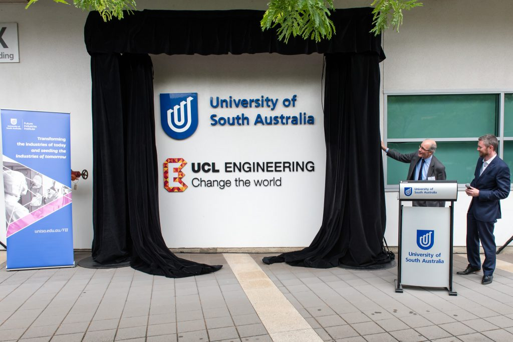 Dean of UCL Engineering, Professor Nigel Titchener-Hooker, and UniSA Vice Chancellor, Professor David Lloyd, opening UCL Engineering facilities in the Future Industries Institute at UniSA's Mawson Lakes campus.