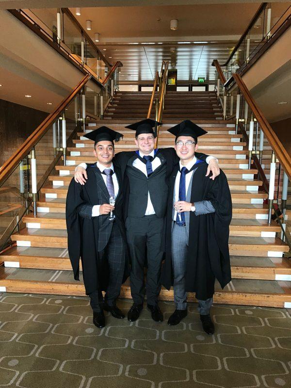 Chemical Engineering graduates and IEP Ambassadors Ani, Chris and Ray celebrating at Graduation 2018.